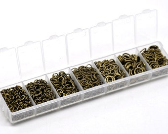 1510 Bronze Tone Jump Rings with Storage Box 4-9MM (H1955)