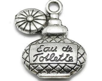 8 Perfume Bottle Charms silver tone metal (S481)
