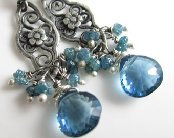 RESERVED La Jolla Azul Earrings - London Blue Topaz, Blue Diamonds and Sterling Silver
