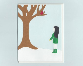 The First Snowfall - girl with cardinal - papercut collage card