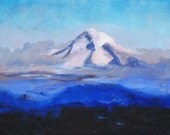 Mountain Landscape Painting, Original Oil on 8x10 Canvas, Small Northwest Scene, Blue, Purple, Oregon Snow Mist White, Violet Sky