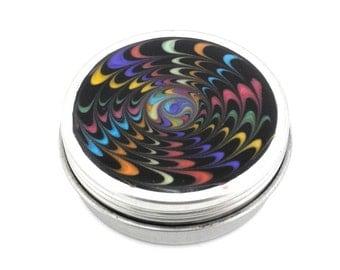 Medium Rainbow Pill Box - Rainbow Starburst on Black - Jewelry Box - Trinket Box - Treasure Box - Handmade - Ready to Ship #92