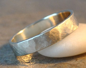 archer ring - men's wedding band in hammered 14k white gold , recycled metal