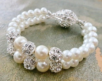 Ivory Pearl Bracelet, Bridal Cuff, Art Deco Wedding Jewelry, Pearl Rhinestone Statement Bracelet, Gatsby Wedding Bracelet, Crystal, White