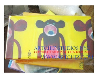 SoCK MONKEY Art Painting - Brown Sock - 6 by 12 by (sides)1.5 Inch Original Handmade Painting - Brown Sock Monkeys