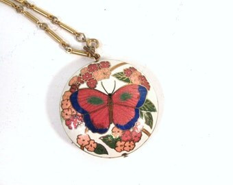 Vintage Cloisonne Butterfly Necklace, large round butterfly enamel pendant, 1970s or 80s