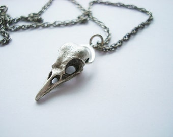 Gothic, Pluked Of Feathers Bird Skull Necklace, Unique Custom Freak Art, Vintage Silver Ox Finish, Handmade, USA Metals