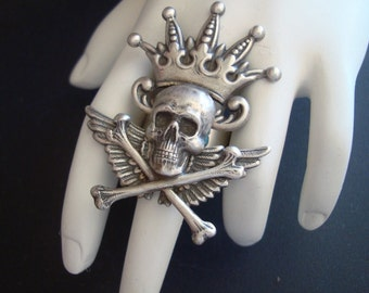 Gothic Ring, I Am Your Jester, Original Design, Hand Made, USA, Silver Ox, Adjustable