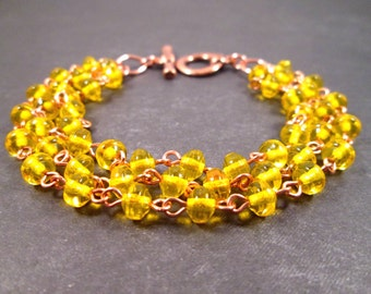 Multi Strand Bracelet, Sunny Yellow, Rose Gold Tone, Copper Beaded Bracelet, FREE Shipping U.S.