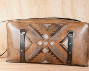 Four Corners Duffel Bag - Leather Duffel Bag - Leather Travel Bag - Handmade - Southwest Inspired pattern - Black, white, antique black