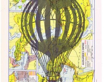 Hot air balloon.Book Page Print,Birthday gift,art,Paper.home decor,buy 3 get 1 FREE.travel.steam punk era.trip.voyage.eco.stripes.globe trot