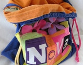 Upcycled Handmade Bag Name your Stuff ONE What's Your Word LINED Wristlet  Pouch Custom made 100% from tshirt sleeves material & fonts