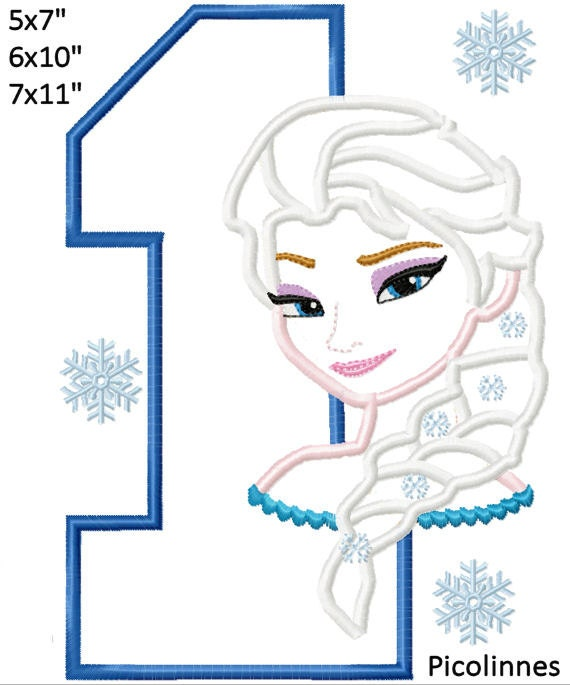 Princess eisa 1st birthday machine embroidery applique for 7x11 bathroom layouts