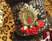 Ooak Unique Virgen de Guadalupe & Sacred Heart Embroidered Black lace Fabric Cuff by Killerdolly666