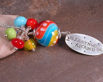 Happy Mother's Day Gratitude Stone Necklace with Bright Beach Ball Bead & Dangles Blessings Abound Divine Spark Designs SRA LeTeam