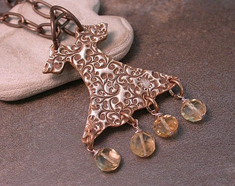 Whimsical Goldie Bronze Metal Clay Party Dress with Citrine Dangles Vintaj Chain Divine Spark Designs SRA