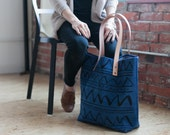 Navy Arches Hand Dyed Canvas Tote Bag-SALE
