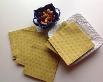 Mustard Yellow Fabric Cocktail Napkins Eco Friendly 100% Cotton Beverage Napkins Appetizer Napkins - set of 6