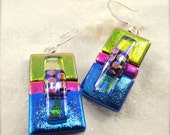 Dichroic earrings, statement jewelry, women's handmade jewelry, handcrafted earrings, fused glass jewelry, dichroic, fusion, one of a kind
