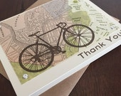 Boston Map and Bike Thank You - 24-Pack Screen-Printed Greeting Card