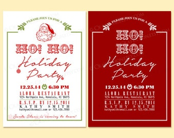 Custom Modern Retro HO HO HOLIDAY Party Invitation Invite Digital Design - Old Fashioned /  Typography / Santa Claus / Ornament - Printable