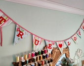 TRUE LOVE Valentine's Day Flag Banner, Bunting Flags Garland, Photo Prop and Wedding Decoration in Sweet Vintage Toned Fabric Pennants..