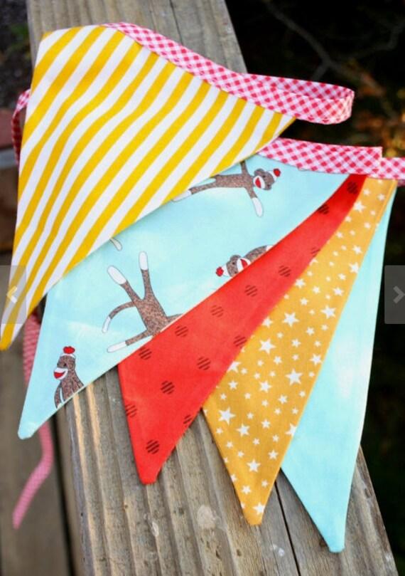 Sock Monkey Flag Bunting, Gender Neutral Monkey Themed Flag Banner,  Designer's Choice Photo Prop, Nursery Decoratio