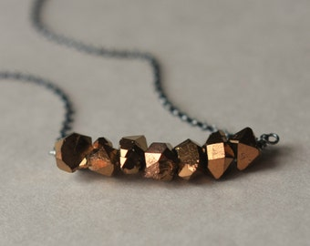 Agate Nugget Necklace, Bronze Agate Necklace, Faceted Agate, Metallic Necklace, Metallic Jewelry, Oxidized Silver Necklace, Chain Necklace
