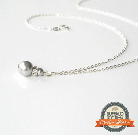 Grey Pearl Necklace with Sterling Silver Chain, FOV BFLO, Gray Pearl, Bridesmaid Jewelry, Simple Necklace, Bridal Accessory
