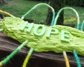 HOPE Wall Hanging Sculpture Green Bright Art Sculpture Colorful Mixed Media Sculpture Modern Mobile