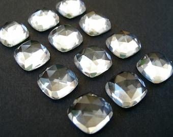 Gemstone Cabochons Clear Quartz Cushion Rose Cut 6mm FOR FOUR