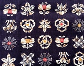 Traditional Japanese Fabric - Cotton Fabric - Kamon Family Crest -  Dark Blue Black   1 Yard (F57)