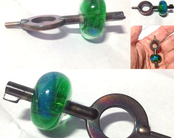 Handmade Lampwork Glass Key Focal Bead