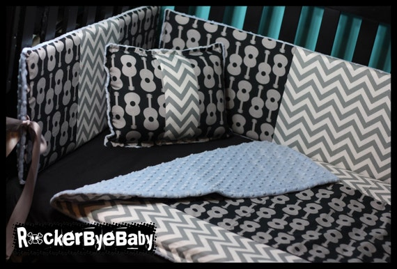 Mixed Print Punk Crib Set - Thin Bumpers by RockerByeBaby