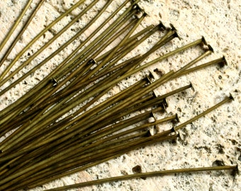Antique brass headpin 50mm (2 inch) long 21g thick, 100 pcs (item ID XMHC00593AB)
