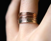 Rose and Yellow Gold fill Stack ring set, Rose Gold and Yellow Gold stack rings, Set of 10 stack rings, stackable rings, mixed metal