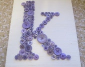 Nursery Wall Art, Button Letter K on Silk, Personalized Kids Wall Art, Button Art, Toddler Gift, Baby Shower Gift, Canvas or Ready-To-Frame