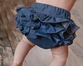 Girls Denim Ruffle Bloomers Baby Girls Diaper Cover Newborn Baby Shower Birthday Gift Summer Party Easter Skirt Photo Prop Session