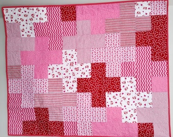 Be Mine Sweet Heart Plus Quilt - Modern Baby Girl Quilt - Pink Red White Foxes Hearts - Heirloom Baby Toddler Crib Quilt