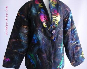 Vintage 90s Quilted Jacket / Hand Painted METALLIC DECADENCE Studio  / Short Car Coat size 8 10 12 Medium