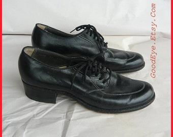 Vintage NO NONSENSE Oxford Shoes size 7 .5 Narrow Eu 38  UK 5 Black Leather Laceup Granny Broghans 1940s Flats