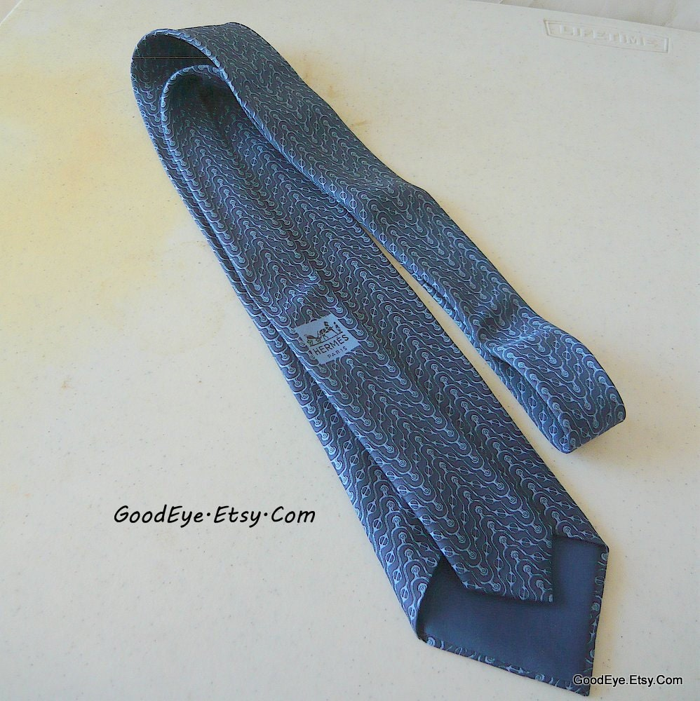 Vintage Mens Authentic HERMES Neck Tie Silk Blue by GoodEye