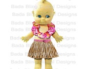 5 x 8  Hula Kewpie  printable,  large image transfer  2 Files...  INSTANT  Digital Download at Checkout, totes, cards, bags, pillows etc