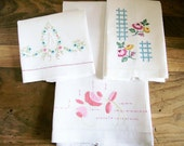 Tea Towels Embroidered Cotton Linens Kitchen Dining   3 Pcs
