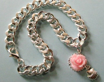 Silver Plated Charm Curb Chain Bracelet Shell Rose Flower Anklet Chunky