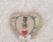 Heart Ornament Vintage Valentine  Lace Card Shabby N Chic ECS sct schteam svfteam