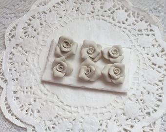 PUSHPin Creamy White Handmade Clay Roses Set of 6 Thumbtacks SVFteam ECS sct schteam