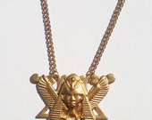 Large Egyptian King Tut Motif Brass Statement Necklace