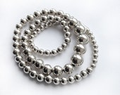 Vintage Sterling Silver Round Graduated Bead Necklace 24""