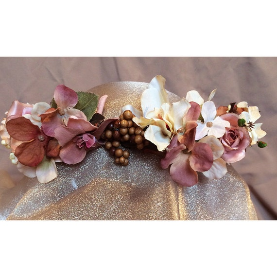 floral head wreath Victorian style dusty pink and cream bridal hair flowers faerie crown